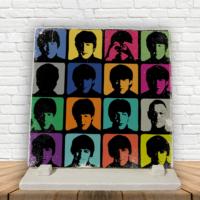KFBiMilyon The Beatles Popart Baskılı Doğaltaş Masa Dekoru