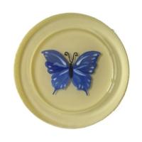 Vago Minds El Boyama Dekoratif Cam Bardak Altlığı - Mavi Kelebek