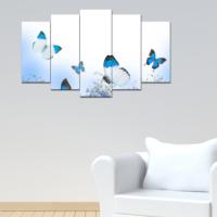 Bunjee 5 Parça Mavi Kelebekler Dekoratif Tablo 100x60 cm