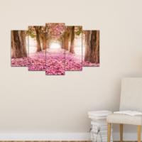 Bunjee 5 Parça Japon Çiçekleri Dekoratif Tablo 100x60 Cm