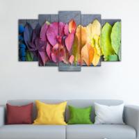 Evmanya Deco 5 Parça Renkli Yapraklar Dekoratif Tablo 100x60 Cm