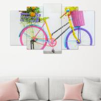 Evmanya Deco 5 Parça Renkli Bisiklet Dekoratif Tablo 100x60 Cm