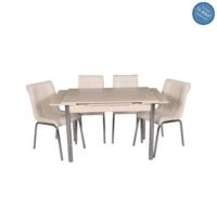 Evistro Açılır Ahşap Mutfak Masa Sandalye Takımı 6+1 Akçaağaç