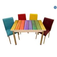 Evistro Cam Mutfak Masa Takımı Renkli Ahşap 6+1