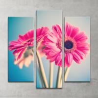 Plustablo Çiçekli Dekoratif 3 Parça Kanvas Tablo