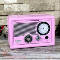 Furkan Store Pembe Radyo Tasarımlı Metal Kilitli Retro Kasa Kumbara