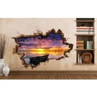 3D Art Gün Batımı Göl – 3D Sticker 135x90 cm