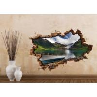3D Art Göl ve Kayık 2 – 3D Sticker 150x100 cm