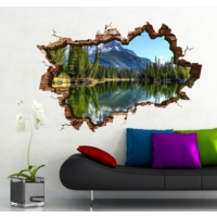 3D Art Göl ve Dağ Manzara 2 – 3D Sticker 150x100 cm