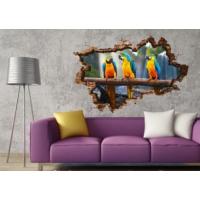 3D Art Papağanlar – 3D Sticker 70x45 cm