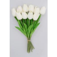 Yapay Çiçek Deposu Yapay 10Lu Islak Lale Buketi Gerçek Doku Kırık Beyaz