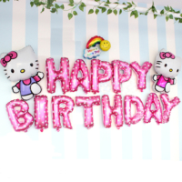 Qr Party Hello Kitty Happy Birthday Folyo Balon Seti 16 Adet Doğum Günü Balonu