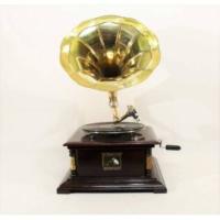Otantik Çarşı Ahşap Kare Gramofon Sarı Metal Süslemeli Düz Borulu