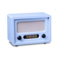 Otantik Çarşı Nostaljik Ahşap Radyo Mavi Renk (Manuel Kumandalı)