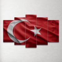 Plustablo Türk Bayrağı 5 Parça Mdf Tablo 100X60 Cm