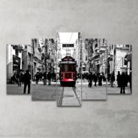Plustablo Nostaljik Tramvay İstiklal Caddesi 5 Parça Mdf Tablo 100X60 Cm