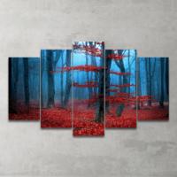 Plustablo Kırmızı Orman 5 Parça Mdf Tablo 100X60 Cm