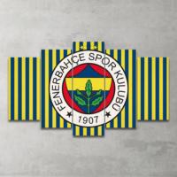 Plustablo Fenerbahçe Özel Tasarım 5 Parça Mdf Tablo 100X60 Cm