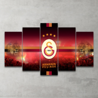 Plustablo Galatasaray Özel Tasarım 5 Parça Mdf Tablo 100X60 Cm