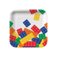 Alins Block (Lego) Parti Küçük Kare Tabağı 17 Cm 8 Adet