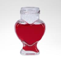 Kikajoy Kalp Şekilli Ayaklı Kapaklı Cam Esans Şişesi 90 Cc(50 Adet)