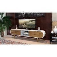 Sanal Mobilya Zigana Oval Çekmeceli Tv Bölmeli Tv Ünitesi Gövde Beyaz/Çekmece Ceviz