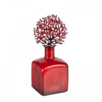 Evdebir Eskitme Mercanlı Kırmızı Dekoratif Prizmatik Cam Şişe