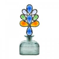 Evdebir Renkli Kristal Tıpalı Mavi Dekoratif Cam Şişe