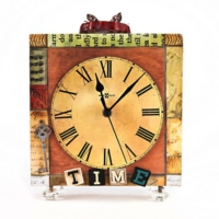 "Evdebir ""Time"" Kristal Ayaklı Ahşap Masa Saati"