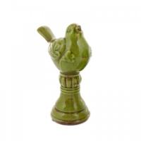 Evdebir Terracotta Yeşil Seramik Dekoratif Kuş
