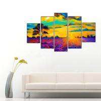 5 Parça Doğa Manzarası Kanvas Tablo