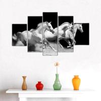 5 Parça Koşan Atlar Kanvas Tablo