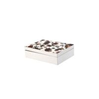 DearyBox KKF-02 Beyaz Desenli Deri Küçük Boy Aksesuar ve Takı Kutusu