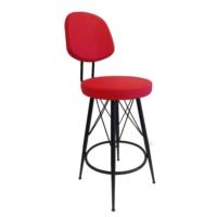 Mavi Mobilya Bar Sandalyesi Suni Deri Kırmızı