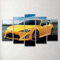 Plustablo Sarı Toyota 5 Parça Kanvas Tablo