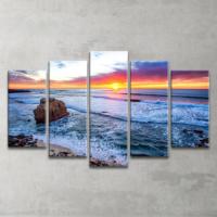 Plustablo Şelale Manzaralı 5 Parça Kanvas Tablo