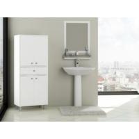 Hepsiburada Home Zambak 4 Kapaklı Tek Çekmeceli Banyo Boy Dolabı - Beyaz