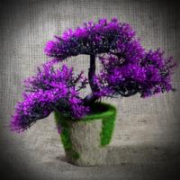 Badem10 Porselen Saksılı Eflatun Renkli Yapay Dekoratif Çiçek