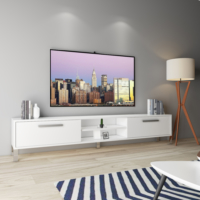 Eyibil Mobilya Arena 200 Cm Yüksek Kalite Tv Sehpası Tv Ünitesi Parlak Beyaz