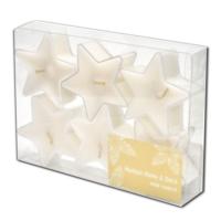 Tealight Pvc Kutu Yıldız 6'Lı Beyaz Vanilya