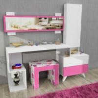Magenta Aynalı Puflu Takı Dolaplı Makyaj Masası P042