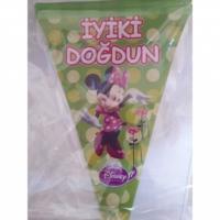 Sihirli Parti Minnie Mouse Üçgen Flama