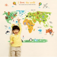 Çocuk Odası Dekoru Hayvanlı Dünya Haritası Atlas Kendinden Yapışkanlı PVC Duvar Sticker