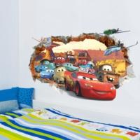 Duvar Sticker Arabalar Cars Filmi Şimşek McQueen 3 Boyutlu Çizim Çocuk Odası Dekor