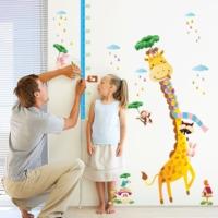 Çocuk Odası Dekorasyonu Gelişim Ölçen Zürafa Kendinden Yapışkanlı PVC Duvar Sticker