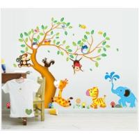 Dev Boyutlu Çocuk Odası Dekorasyonu Ağaç Maymun ve Hayvanlar XL Kendinden Yapışkanlı PVC Duvar Sticker