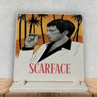 KFBiMilyon Scarface İllustrasyon Tasarımlı Doğal Taş Masa Dekoru