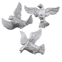 Üçlü Kuş Duvar Süsü Gümüş