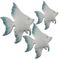 Üçlü Polyester Balık Duvar Süsü Mavi Beyaz