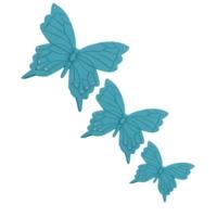 Üçlü Kelebek Duvar Süsü Turkuaz